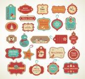 Navidad fijó - etiquetas, etiquetas y elementos decorativos stock de ilustración