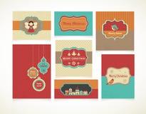 Navidad fijó - etiquetas, etiquetas y tarjetas de felicitación Fotos de archivo libres de regalías