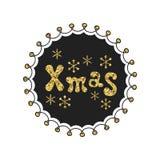 Navidad Frase del oro de la caligrafía El brillo manuscrito sazona las letras Frase de Navidad Elemento drenado mano holidays ilustración del vector