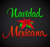 Navidad Mexicana, Mexican Christmas spanish text, Vector Lettering Text royalty free illustration