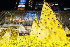 Navidad se enciende para arriba en el mundo central, Bangkok Fotografía de archivo