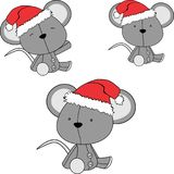 Navidad sienta el sistema del sombrero de Papá Noel de la historieta del ratón del bebé stock de ilustración