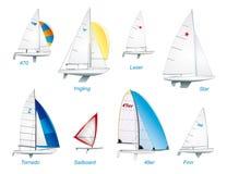 Navigação. Classes olímpicas do sailboat Foto de Stock Royalty Free