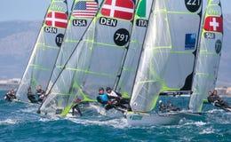 navigação da classe 49er durante a regata na opinião de Palma de Maiorca Foto de Stock Royalty Free