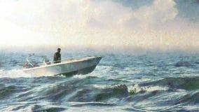 Navigação do barco a motor no mar imagens de stock