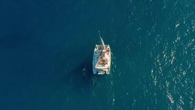 Navigação do catamarã no mar Tiro aéreo da navigação do catamarã no vento filme