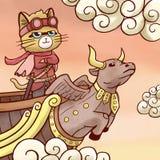 Navigação do gato do pirata do céu no navio do voo ilustração stock