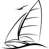 Navigação do iate na ilustração do vetor de onda Fotos de Stock Royalty Free
