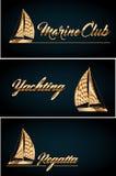 Navigação do iate no mar azul O vetor original apronta-se para as melhores cópias Fotos de Stock Royalty Free
