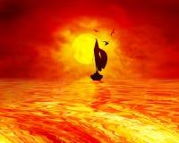 Navigação do por do sol fotografia de stock royalty free