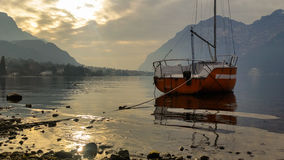 Navigable alpine lakes Stock Photography