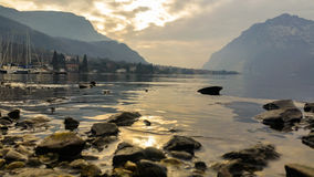 Navigable alpine lakes Stock Images
