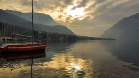 Navigable alpine lakes Stock Photo