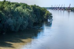 Navigable lowland river and small river port. On North river. Willow on banks bathe crowns in water, summer bright sun, port cranes Royalty Free Stock Images