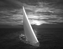Navigando all'alba Fotografie Stock