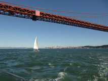 Navigando sotto golden gate bridge Fotografia Stock