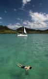 Navigando usando una presa d'aria in Isola Maurizio Fotografie Stock