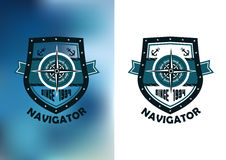 Navigatöretikett eller emblem för tappning marin- Arkivfoton