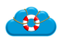 Navigate safe in the cloud. Concept for security within the data cloud and applications. cloud with a rescue buoy attached to it Vector Illustration