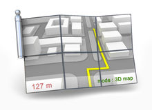 Navigateur de GPS et carte 3D Photographie stock libre de droits