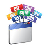 Navigateur et domaines. concept d'Internet Images stock