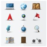 Navigateur Icon Set Design de voyage et de voyage Photos libres de droits
