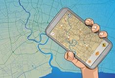 Navigateur mobile en main Photo stock