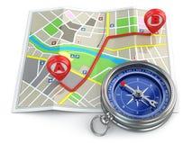 Navigatie en gps concept. Kompas en kaart. Royalty-vrije Stock Fotografie