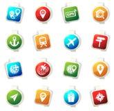 Navigatie en vervoer geplaatste pictogrammen Royalty-vrije Stock Afbeelding