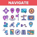 Navigatie Lineaire Vector Dunne Pictogrammen Geplaatst Symbool vector illustratie