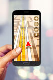 Navigatie op het smartphonescherm stock afbeelding