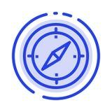 Navigatie, Richting, Kompas, Gps het Blauwe Pictogram van de Gestippelde Lijnlijn stock illustratie