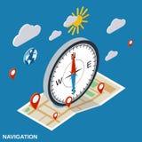 Navigatie vlak isometrisch vectorconcept royalty-vrije illustratie