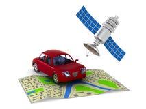 Navigatiesysteem op witte achtergrond Geïsoleerde 3d illustratie Stock Afbeeldingen