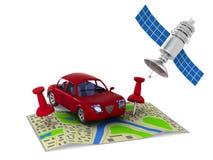 Navigatiesysteem op witte achtergrond Geïsoleerde 3d illustratie Stock Foto