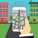 Navigatieweg De hand houdt smartphone Royalty-vrije Stock Afbeelding
