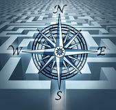 Navigating through challenges. Represented by a labyrinth maze  in 3D with a compass rose symbol showing the concept of business problem solving and solution Stock Photography