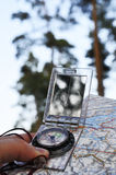 Navigating with compass Royalty Free Stock Images