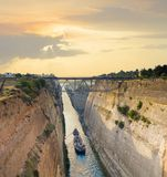 Navigating through Greece. Shipping freight through the Corinth Canal Royalty Free Stock Image