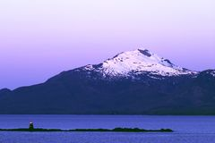 Navigating the Inside Passage. Clear evening cruising the Inside Passage, Alaska Stock Image