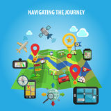 Navigating The Journey Concept. Navigation and location in journey and travel map with landmarks and flags flat color concept vector illustration Stock Image