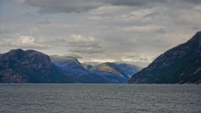 Navigating into Lysefjord Stock Images