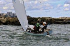 Navigating the sailboat Stock Photo