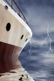 Navigating to the storm. With lightning Stock Photography