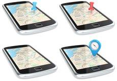 Navigation über Smartphone. Stockbilder