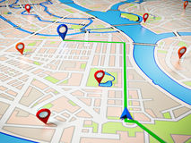 Navigation. Street Map with GPS Icons. Navigation Royalty Free Stock Image