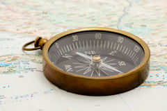 Navigation. Boat navigation - compass and marine map studio isolated Royalty Free Stock Image