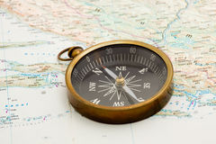 Navigation. Boat navigation - compass and marine map studio isolated Royalty Free Stock Images