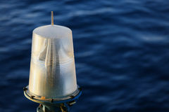 Navigation aid on the platform in offshore, Signal in marine, Light to show subject in the sea on night Stock Image