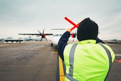 Navigation of the airplane at the airport Stock Photos